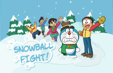 Juego Doraemon snowball fight